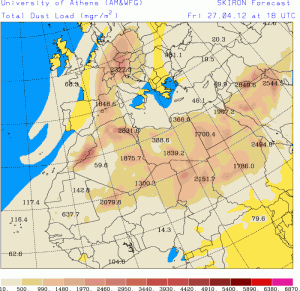Saharastaub-Prognose für den 27.04.2012, 18:00 UTC (Quelle: http://forecast.uoa.gr/dustindx.php)