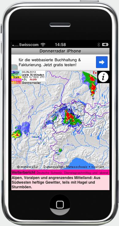 Anzeige einer starken Gewitterlage auf dem iPhone.