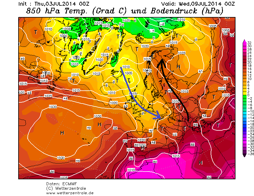 Luftmassenverteilung mit eingezeichneten Strömungen (blau = kalt, schwarz = warm) am Mittwoch, 9. Juli nach dem europäischen Modell EZ