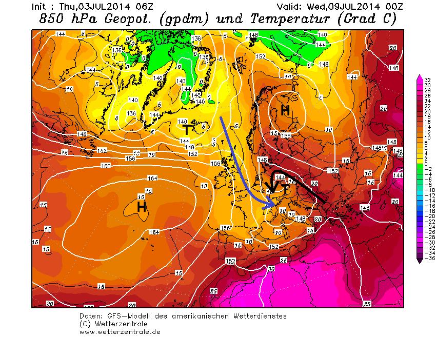 Luftmassenverteilung mit eingezeichneten Strömungen (blau = kalt, schwarz = warm) am Mittwoch, 9. Juli nach dem amerikanischen Modell GFS