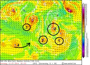 Höhenwetterkarte für die Nacht auf Samstag mit hervorgehobenen wetterbestimmenden Tiefs (Erläuterungen dazu im Text)