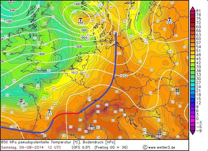 Luftmassenverteilung mit Lage der Front am Samstag. Spannend wird, wie sich das Hitzetief über Südfrankreich am Abend entwickeln wird.