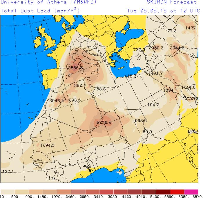 Die Staub-Prognose der Universtät Athen zeigt am Dienstagmittag einen starken Eintrag von Saharastaub in der Luft. Dieser wird mit dem Regen am Abend deponiert. Es empfiehlt sich also, mit dem Autwaschen bis am Mittwoch zuzuwarten.