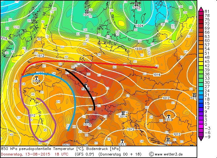 Da nach Nordosten ziehende Biskayatief mit mehreren Fronten am Donnerstagabend (schwarz = vorlaufende Konvergenz; rot = Warmfront; blau = Kaltfront; violett = Okklusion