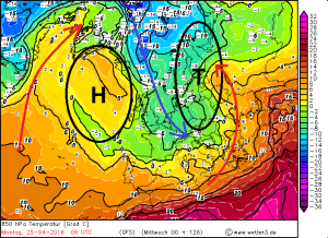 Grossräumige Verteilung der Luftmassen (Temperatur in rund 1400 m Höhe) und steuernde Druckgebilde am Montag, 25.04.2016